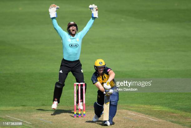 Ben Foakes of Surrey appeals for the wicket of Graham Wagg of Glamorgan during the Vitality Blast match between Glamorgan and Surrey at Sophia...