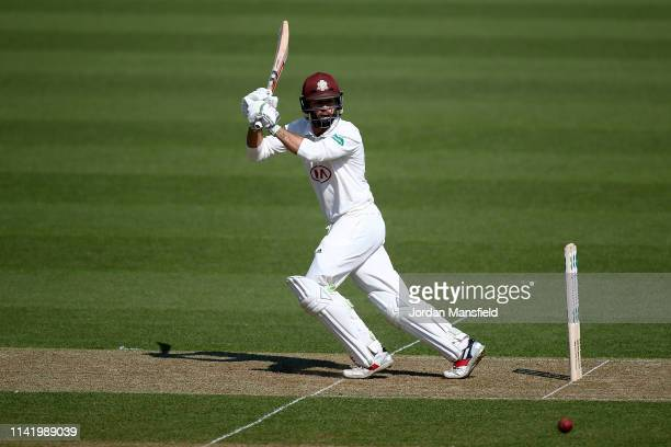 Ben Foakes of Surrey bats during day one of the Specsavers County Championship Division 1 match between Surrey and Essex at The Kia Oval on April 11,...