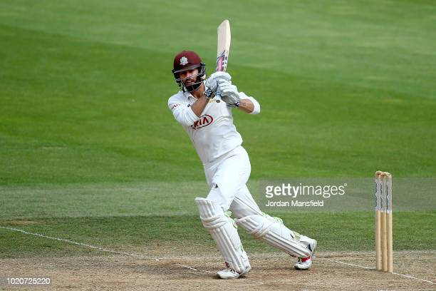 Ben Foakes of Surrey bats during day three of the Specsavers County Championship Division One match between Surrey and Lancashire at The Kia Oval on...