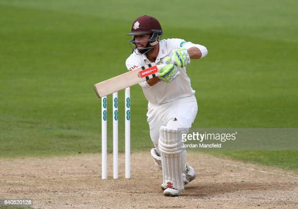 Ben Foakes of Surrey bats during day two of the Specsavers County Championship Division One match between Surrey and Middlesex at The Kia Oval on...