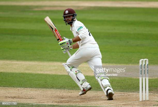 Ben Foakes of Surrey bats during day two of the Specsavers County Championship Division One match between Surrey and Somerset at The Kia Oval on...