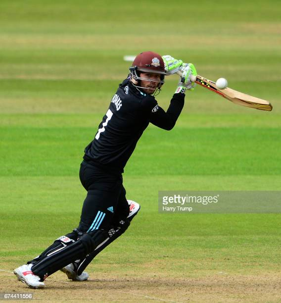 Ben Foakes of Surrey bats during the Royal London OneDay Cup between Somerset and Surrey at The Cooper Associates County Ground on April 28 2017 in...