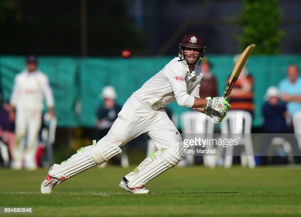 Ben Foakes of Surrey bats during the Specsavers County Championship Division One match between Surrey and Essex at Guildford Cricket Club on June 11...