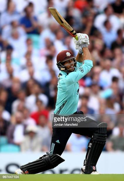 Ben Foakes of Surrey bats during the Vitality Blast match between Surrey and Essex Eagles at The Kia Oval on July 12 2018 in London England