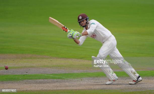 Ben Foakes of Surrey batting during the County Championship Division One match between Lancashire and Surrey at Old Trafford on September 25 2017 in...