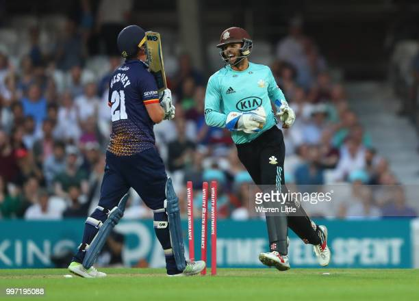 Ben Foakes of Surrey celebrates dismissing Tom Westley of Essex Eagles during the Vitality Blast match between Surrey and Essex Eagles at The Kia...