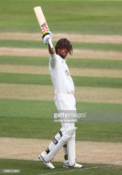 Ben Foakes of Surrey celebrates his century day three of the Bob Willis Trophy match between Surrey and Kent at The Kia Oval on August 24 2020 in...