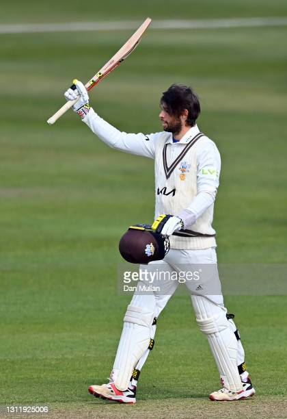 Ben Foakes of Surrey celebrates reaching his century during day four of the LV= County Championship match between Gloucestershire and Surrey at...