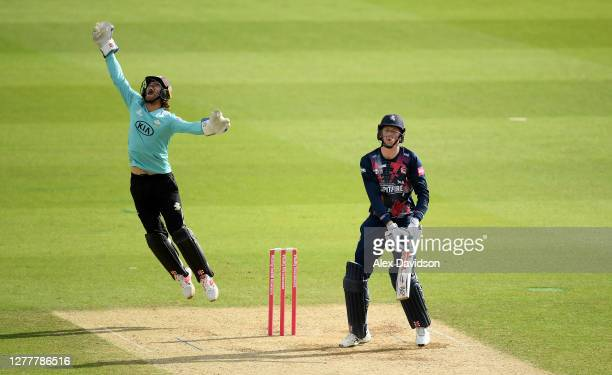 Ben Foakes of Surrey celebrates taking the catch to dismiss Zak Crawley of Kent during the Vitality Blast QuarterFinal match between Surrey and Kent...