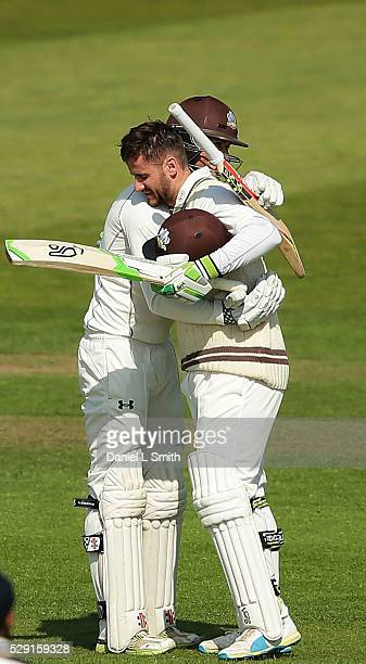 Ben Foakes of Surrey congratulates Steve Davies on his century during the Specsavers County Championship Division One match between Yorkshire and...