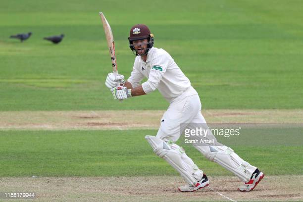 Ben Foakes of Surrey hits a boundary during Day Three of the Surrey v Warwickshire Specsavers County Championship match at The Kia Oval on June 25,...