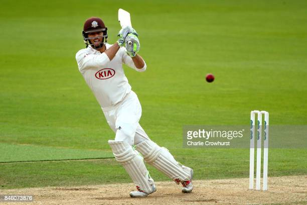 Ben Foakes of Surrey hits out during day one of the Specsavers County Championship Division One match between Surrey and Yorkshire at The Kia Oval on...