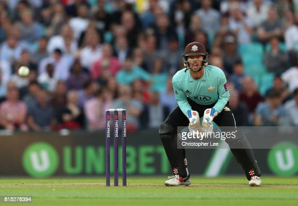 Ben Foakes of Surrey in action during the NatWest T20 Blast match between Surrey and Kent at The Kia Oval on July 14 2017 in London England