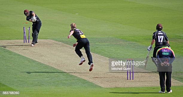 Ben Foakes of Surrey is bowled out by Liam Norwell of Gloucestershire during the Royal London OneDay Cup match between Surrey and Gloucestershire at...
