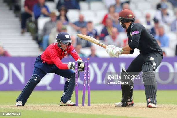 Ben Foakes of Surrey is stumped by Robbie White of Essex for 82 runs during the Royal London One Day Cup match between Surrey and Essex at The Kia...