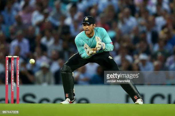 Ben Foakes of Surrey makes a catch during the Vitality Blast match between Surrey and Essex Eagles at The Kia Oval on July 12 2018 in London England