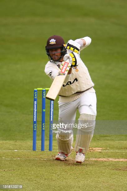 Ben Foakes of Surrey plays a shot during Day Three of the LV= Insurance County Championship match between Somerset and Surrey at The Cooper...