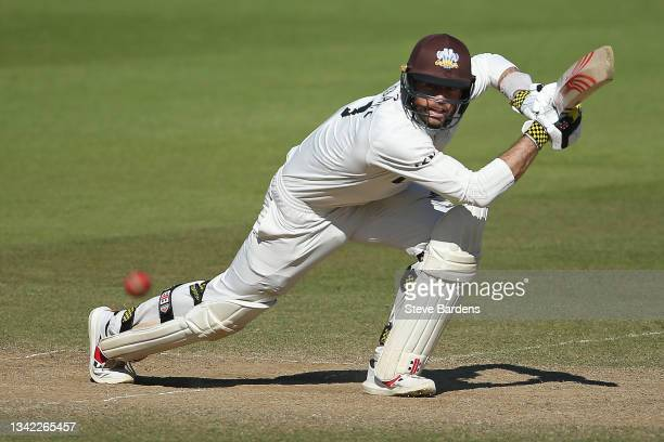 Ben Foakes of Surrey plays a shot on day four during the LV= Insurance County Championship match between Surrey and Glamorgan at The Kia Oval on...