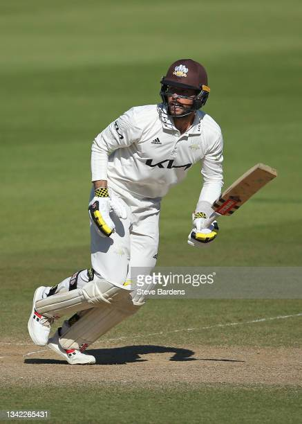 Ben Foakes of Surrey plays in action on day four during the LV= Insurance County Championship match between Surrey and Glamorgan at The Kia Oval on...