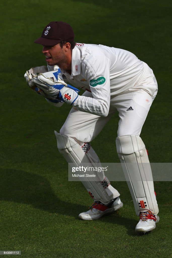 Ben Foakes the wicketkeeper of Surrey during day two of the Specsavers County Championship Division One match between Hampshire and Surrey at the Ageas Bowl on September 6, 2017 in Southampton, England.