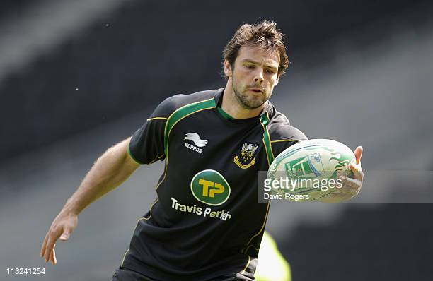 Ben Foden, catches the ball during the Northampton Saints training session at Stadium MK on April 28, 2011 in Milton Keynes, England.