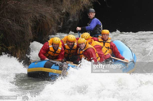 Ben Foden, Nick Easter,Chris Ashton and James Haskell of England shoot the rapids during a white water raft run during an England IRB Rugby World Cup...