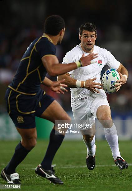 Ben Foden of England charges forward during the IRB 2011 Rugby World Cup Pool B match between England and Scotland at Eden Park on October 1 2011 in...
