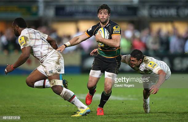 Ben Foden of Northampton breaks with the ball during the Aviva Premiership semi final match between Northampton Saints and Leicester Tigers at...