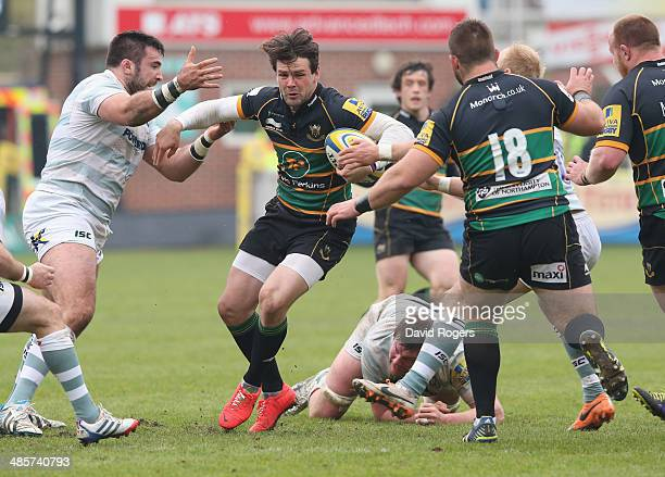 Ben Foden of Northampton charges upfield during the Aviva Premiership match between Northampton Saints and London Irish at Franklin's Gardens on...
