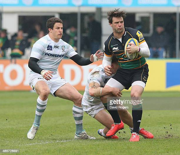 Ben Foden of Northampton holds onto the ball during the Aviva Premiership match between Northampton Saints and London Irish at Franklin's Gardens on...