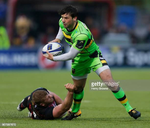 Ben Foden of Northampton Saints and George Kruis of Saracens during the European Rugby Champions Cup match between Saracens and Northampton Saints at...