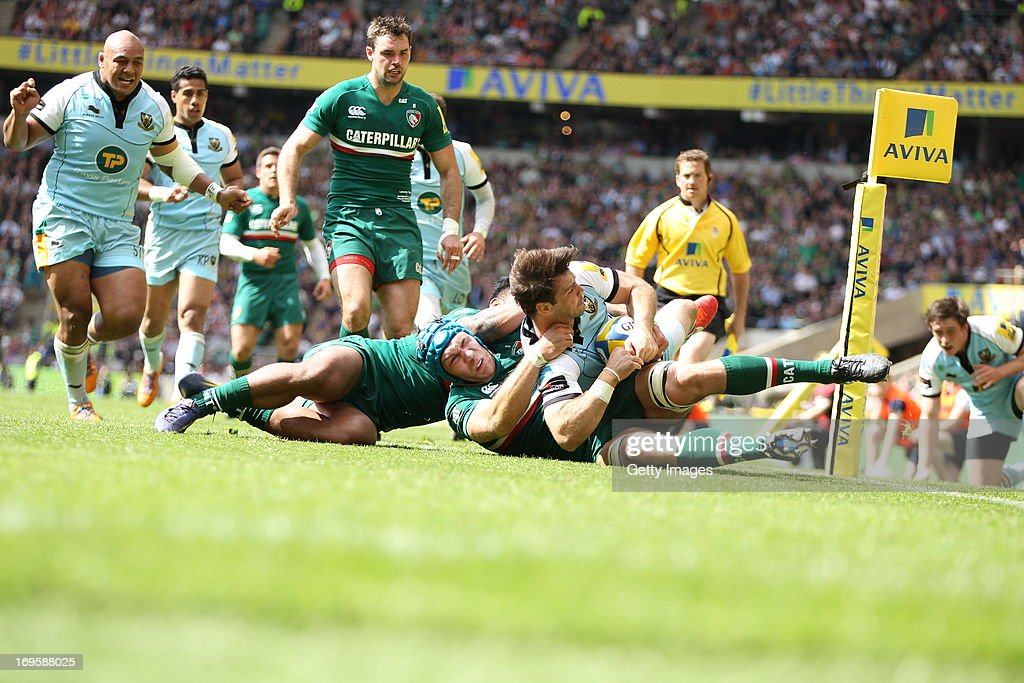 Ben Foden of Northampton Saints is held up over the line and does not score a try during the Aviva Premiership Final between Leicester Tigers and Northampton Saints at Twickenham Stadium on May 25, 2013 in London, England.