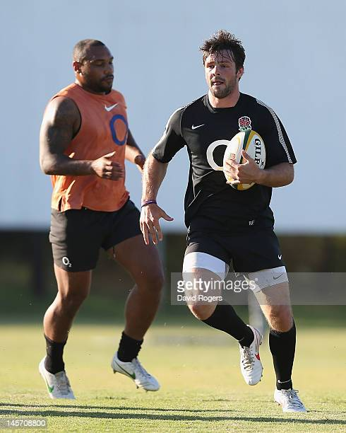 Ben Foden runs with the ball during the England training session held at Northwood Crusaders on June 4 2012 in Durban South Africa