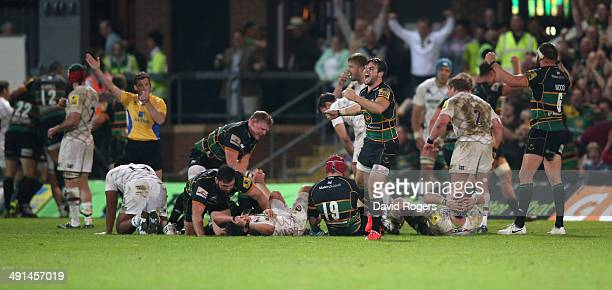 Ben Foden the Northampton fullback celebrates the final whistle after their victory during the Aviva Premiership semi final match between Northampton...