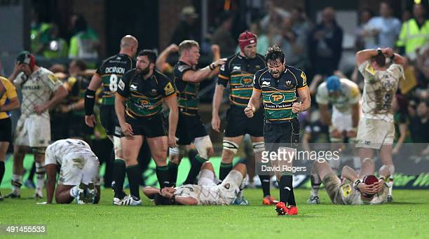Ben Foden the Northampton fullback celebrates their victory during the Aviva Premiership semi final match between Northampton Saints and Leicester...