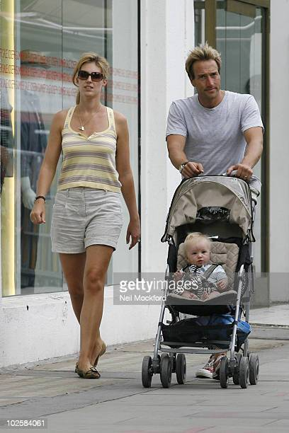 Ben Fogle sighted having lunch with wife Marina Hunt and their son Ludo on July 2 2010 in London England