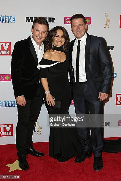 Ben Fordham Lisa Wilkinson and Karl Stefanovic arrive at the 2014 Logie Awards at Crown Palladium on April 27 2014 in Melbourne Australia