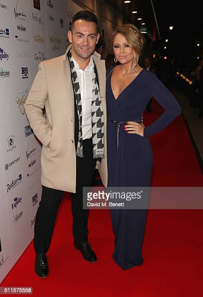 Ben Forster and Kimberley Walsh attends the 16th Annual WhatsOnStage Awards at The Prince of Wales Theatre on February 21 2016 in London England