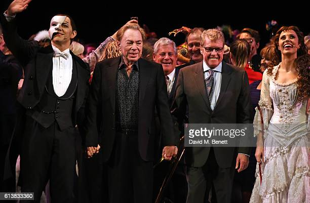 Ben Forster Lord Andrew Lloyd Webber Michael Crawford and Celinde Schoenmaker bow onstage at The Phantom Of The Opera 30th anniversary charity gala...