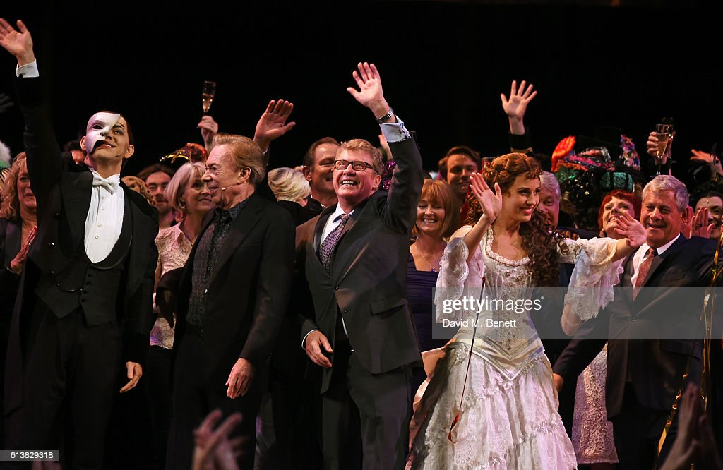 Ben Forster, Lord Andrew Lloyd Webber, Michael Crawford, Celinde Schoenmaker and Sir Cameron Mackintosh bow onstage at 'The Phantom Of The Opera' 30th anniversary charity gala performance in aid of The Music in Secondary Schools Trust at Her Majesty's Theatre on October 10, 2016 in London, England.