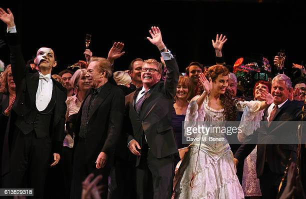 Ben Forster Lord Andrew Lloyd Webber Michael Crawford Celinde Schoenmaker and Sir Cameron Mackintosh bow onstage at 'The Phantom Of The Opera' 30th...
