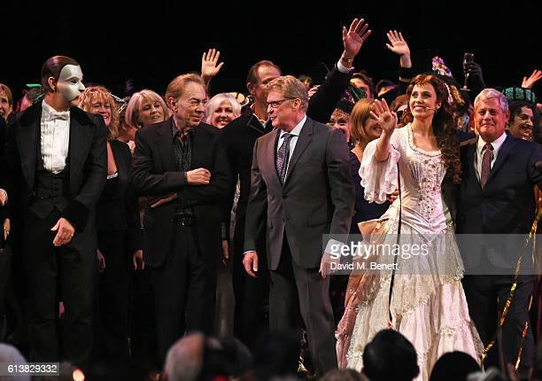 Ben Forster Lord Andrew Lloyd Webber Michael Crawford Celinde Schoenmaker and Sir Cameron Mackintosh bow onstage at The Phantom Of The Opera 30th...