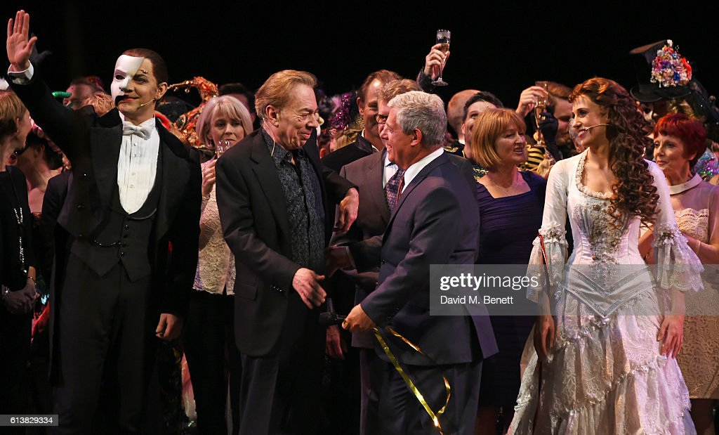 Ben Forster, Lord Andrew Lloyd Webber, Sir Cameron Mackintosh and Celinde Schoenmaker bow onstage at 'The Phantom Of The Opera' 30th anniversary charity gala performance in aid of The Music in Secondary Schools Trust at Her Majesty's Theatre on October 10, 2016 in London, England.
