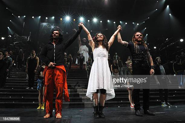 Ben Forster, Mel C and Tim Minchin attend the curtain call at the final performance of Jesus Christ Superstar before the show tours the USA and...