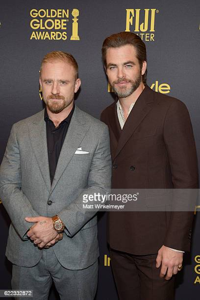 Ben Foster and Chris Pine arrive at the Hollywood Foreign Press Association and InStyle celebrate the 2017 Golden Globe Award Season at Catch LA on...