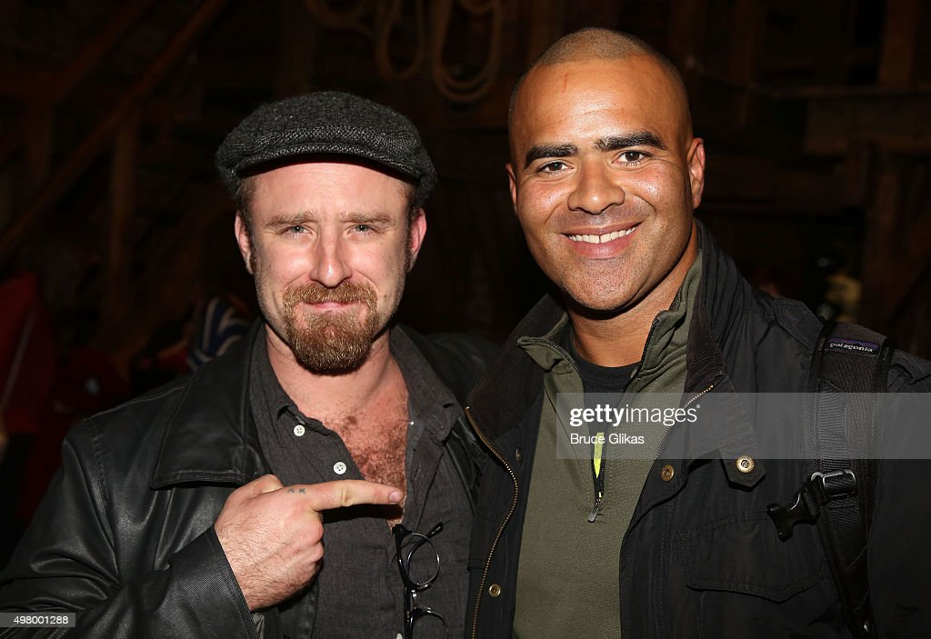 Ben Foster and Christopher Jackson pose backstage at the hit musical 'Hamilton' on Broadway at The Richard Rogers Theater on November 19, 2015 in New York City.