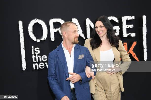 Ben Foster and Laura Prepon attend the Orange Is The New Black Final Season World Premiere at Alice Tully Hall Lincoln Center on July 25 2019 in New...