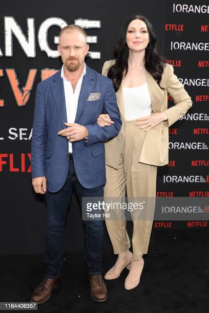 "Ben Foster and Laura Prepon attend the ""Orange is the New Black"" final season world premiere at Alice Tully Hall, Lincoln Center on July 25, 2019 in..."