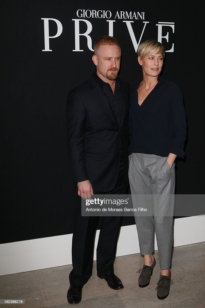 Ben Foster and Robin Wright arrive at the Giorgio Armani Prive show as part of Paris Fashion Week Haute-Couture Spring/Summer 2015 on January 27, 2015 in Paris, France.
