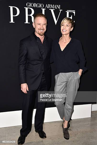 Ben Foster and Robin Wright attend the Giorgio Armani Prive show as part of Paris Fashion Week Haute Couture Spring/Summer 2015 on January 27 2015 in...